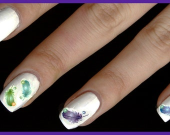 3 set of Colorful Feather decals
