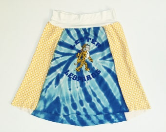 Women's upcycled Lester Leopards blue tie dye tshirt skirt A-line yoga waistband size small/medium one of a kind