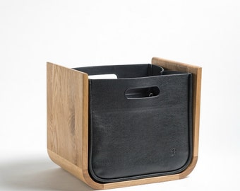 Newspaper collector solid oak oiled with leather case