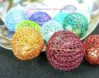 """wire crochet """"BUBBLE"""" necklace with fresh water pearls in different color combinations"""