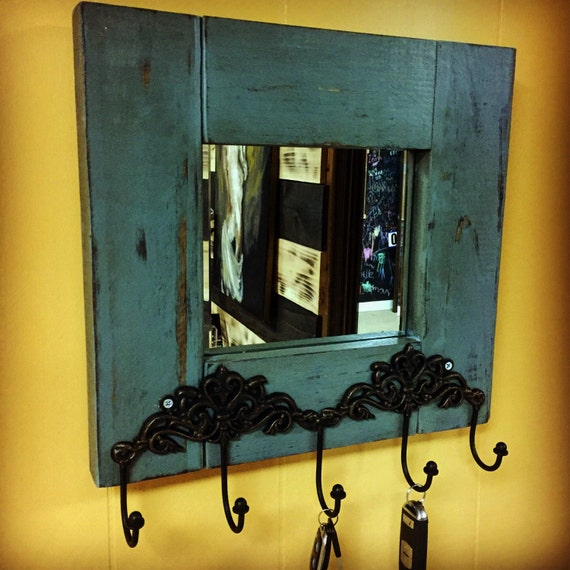 Distressed entryway key holder with mirror by divinewoodwork for Mirror key holder