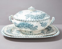 Antique Ironstone Tureen with 2 under plates - BOCH Frères Keramis Late 1800s - Turquoise Transferware.