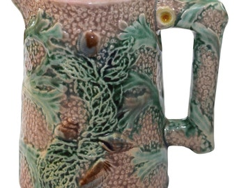 Majolica Etruscan Pink Coral Large Creamer E-27