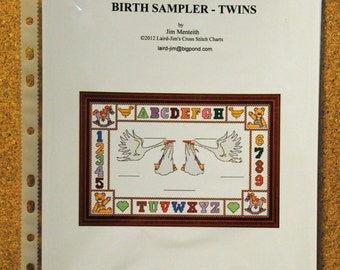 BIRTH SAMPLER - Twins - cross stitch chart