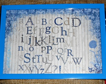 """wall decor, wall picture, kids room decor print in frame """"alphabet"""""""