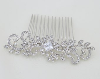 Silver Wedding Comb, Crystal Hair Comb, Bridal Hair Comb, Crystal Hair Comb, Hair Comb, Bridal Headpiece, Ref CINDY