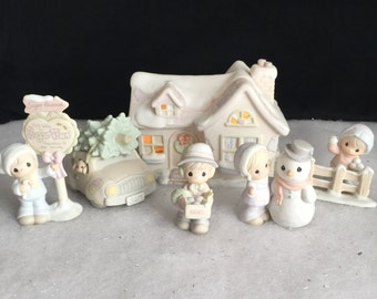 Precious Momemts, Sugar Town, Sam's House, The Complete Seven Piece Collector's Set, original 1993 set (Butterfly Symbol), Retired in 1997