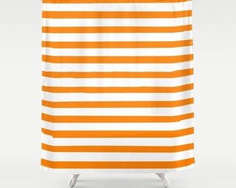 Orange Shower Curtain, Striped Shower Curtain, Kids Bathroom Decor, Kids Shower Curtain, Preppy Decor, Standard or Extra Long Shower Curtain