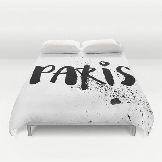 items similar to paris bedroom decor black and white bedding paris duvet cover duvet cover. Black Bedroom Furniture Sets. Home Design Ideas