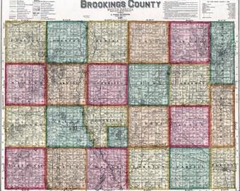 1897 Map of Brookings County South Dakota