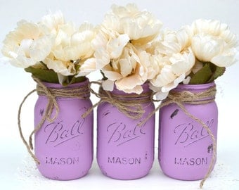 Painted Mason Jars, Purple Mason Jar, Painted Jars, Purple Centerpiece, Purple Dorm Decor, Distressed Jars, Mason Jar Decor, Spring Decor