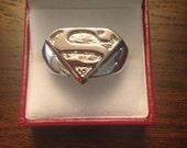 Superman chrome steel Ring  size 9,10,11,12,13