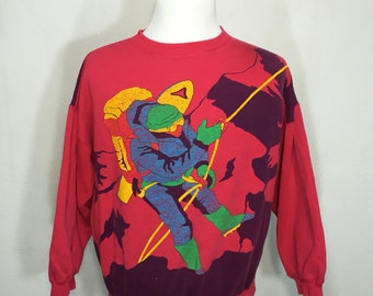 80's all over print sweatshirt rock climing sky diving size large