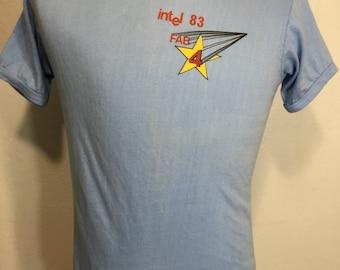 80's vintage intel t shirt poly/cotton blend 50/50 womens 100% cotton