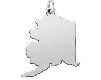 State Cutout Charms in Sterling Silver | All 50 States Available | Custom Engraving Available | Sterling Silver