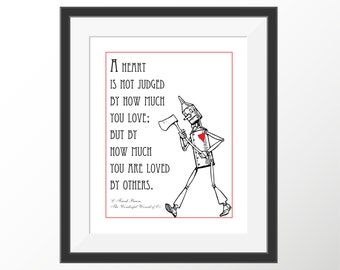 """Wizard of Oz Tin Man L. Frank Baum Black and White Decorative Quote Art Print Instant Digital Download 8"""" x 10"""" and 8.5"""" x 11"""""""