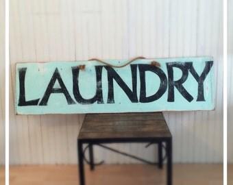 Large 4' Sky Blue LAUNDRY Sign
