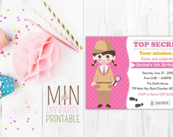 Spy Party Invitation, Secret Agent Detective , Top Secret Spy Invitation,  spy party, secret agent party, spy invitation, detective invite