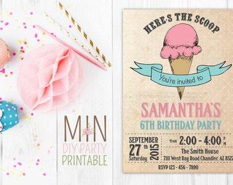 Vintage Ice Cream Invitation,Ice Cream Invitation, Ice Cream Birthday Invitation, Ice Cream Party Invitation,Ice Cream Cone, Party Invite