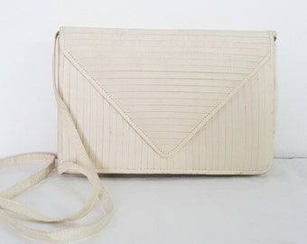 1970s 100% Silk Bone Color/Winter White Evening Shoulder Bag  or Clutch.  Perfect  for Weddings, Brunch or other Special Occasions.