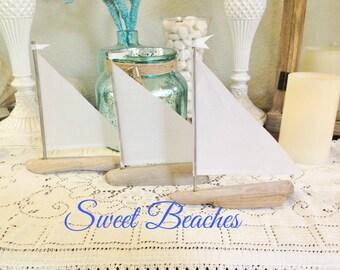 3 Linen Driftwood Sailboat Seaside Nautical Resort  Decor Wedding Center Peice