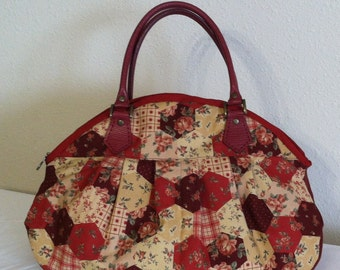 Red Hexagon Tote Bag, Quilted Purse