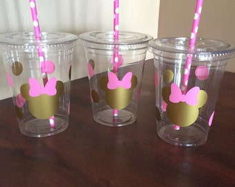 Minnie Mouse birthday cups, Minnie Mouse cups, Minnie Mouse birthday, minnie mouse party, minnie mouse gold and pink