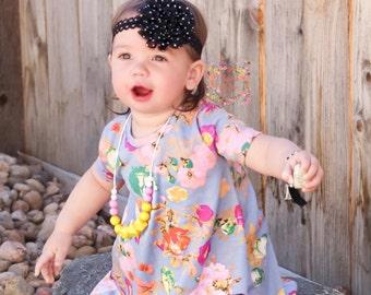 Baby Headband/Girls Headband/Black Flower Clip/Black and White/Flower Headband/Flower Hair Clip/Polka Dot Flower Headband/Polka Dot Flower