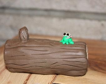 Miniature log w/ frog ~ polymer clay