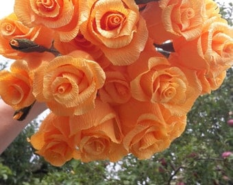 ORANGE WEDDING BOUQUET, bride bouquet, paper flowers,crepe paper