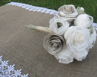 bride bouquet, WEDDING PAPER BOUQUET, bridesmaids flowers crepe paper flowers