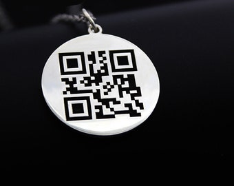 Two-dimention Code, QR Code Necklace, Custom Necklace, Custom Pendants, I Love You