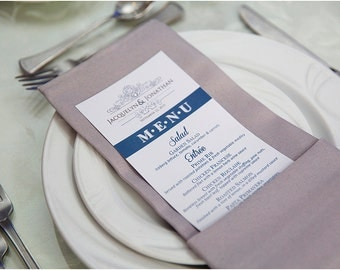 Wedding Reception Dinner Menu with Crystal Embellishment - ANY COLOR!