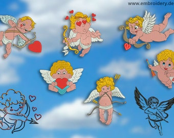 Cupids embroidery designs pack #2 (8 designs)