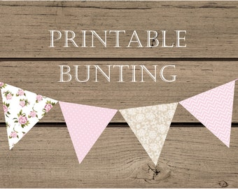 Shabby Chic Printable Bunting - Instant Download - Baby Shower, 1st Birthday Decorations - Pink & Lace