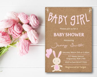 Printable Baby Shower Invitation Girl - Rustic Kraft Paper Pink Bunny Rabbit Balloon - DESIGN 063