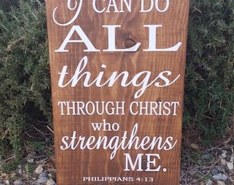 Philippians 4:13, Rustic Wood Decor, Religious Decor, Home Decor
