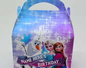 Frozen Girls Personalised Children's Party Box Gift Bag Favour