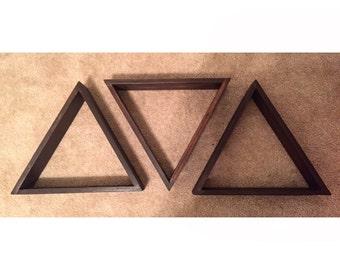 Handmade wood triangle shelves