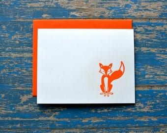 4 pack: Orange Fox Notecards