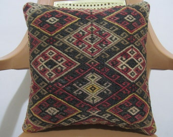 Beautiful Pale Color Vintage Embroidery 16 x 16 Turkish Nomadic Handmade Vegetable Dyed Kilim Pillow Decorative Pillow Throw Pillow