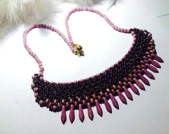 Necklace Pearl neck ras breastplate super duo