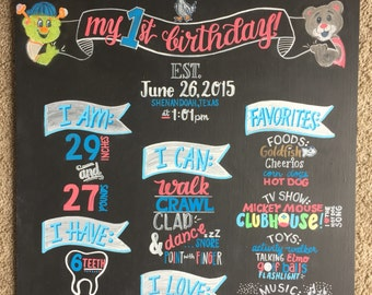 1st Birthday Chalkboard Texan Boy