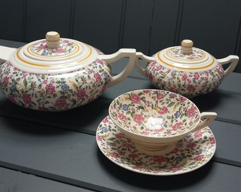 Antique French Art Deco tea set,  floral transferware. tea pot, tea cup and sugar bowl.
