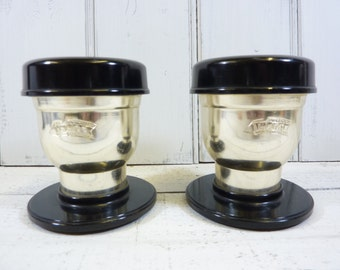 French vintage individual 'Illico' filter coffee press. set of two. 60's chrome and bakelite.