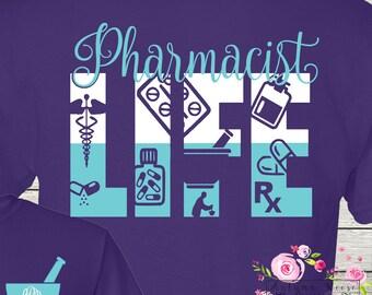 Phamacy Pharmacist T-Shirt Monogrammed Personalized Pharm Tech Personalized Customized Shirt