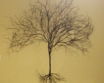 Wire Art - Original LARGE Modern 3D Wire Tree Wall Hanging          Large: Over 5 feet x 5 feet Special Order