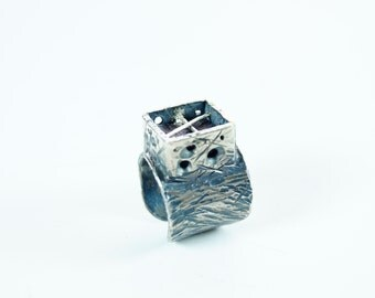 Meteorite  Ring Beautiful Band  Royal Blue  ring made for unisex Sterling silver Hand made One of a kind