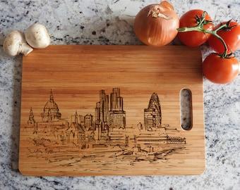 ikb59 Personalized Cutting Board Wood london england panorama kitchen