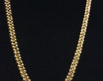 "Gold Chainmail type Long Necklace 37"" Vintage"